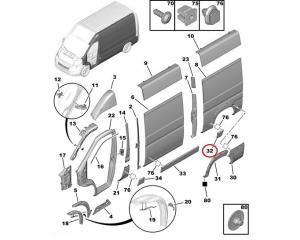 Külgpaneeli eesmine liist vasak Jumper/Boxer/Ducato 2006- L2