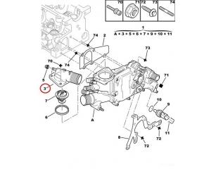 Фланец системы охлаждения Jumper/Boxer/Ducato -2006 2,0HDI