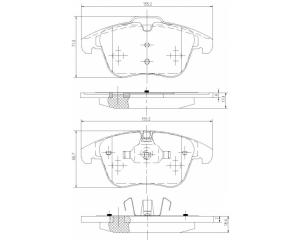 Тормозные колодки передние комплект Citroen C5, Peugeot 508
