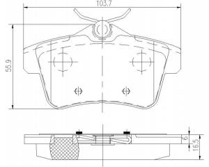 Тормозные колодки задние комплект Renault Clio III, Modus, Kangoo II, Dacia Logan MCV
