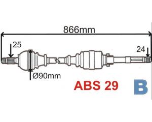Приводной вал комплектный Xsara/Berlingo/Partner ABS 29