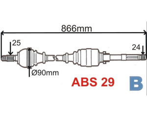 Veovõll kompektne parem Xsara/Berlingo/Partner ABS 29