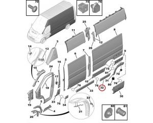 Suoja-/koristelista, kylkipaneli, vasen Jumper/Boxer/Ducato 2006- L4