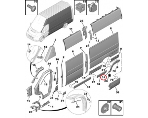 Молдинг арки задний левый Jumper/Boxer/Ducato 2006-