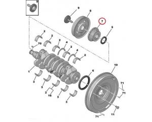 Väntvõlli rihmaratas hammasrihmale Citroen/Peugeot 1,4-1,6HDI