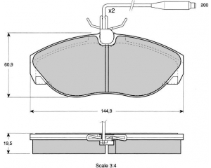 Front brake pad kit Jumper/Boxer/Ducato 1,4T 94-01