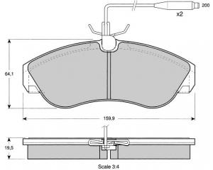 Комплект передних тормозных колодок Jumper/Boxer/Ducato 1,8T 94-01