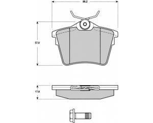 Комплект задних тормозных колодок Citroen C5 08-/ Peugeot 407/607
