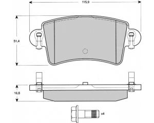 Brake pad set rear Renault Master/Opel Movano