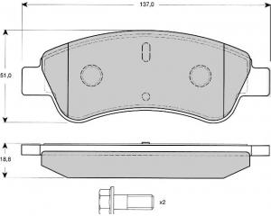 Esipiduriklotside komplekt Peugeot Partner/206, Citroen Berlingo/Xsara 02- HDI