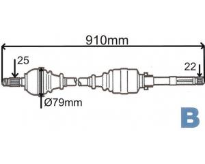 Vetoakseli, vasen Citroen C4/Peugeot 307 1,4-1,6